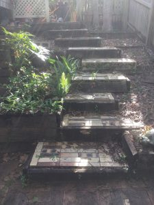 timber replacement on steps - before